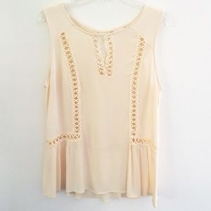 Altar'd State Cream Embroidered Lace Cut Out Top